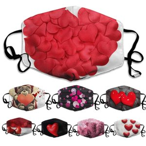 2021 New face mask Valentine's gift Masks Couple dustproof Filter Washed Valentine's Day Peach Heart Love facemask
