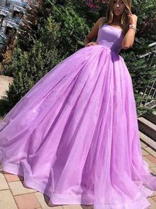 Light Purple Tulle Ball Gown Prom Dresses Sexy Spaghetti Straps Plus Size Lace-up Evening Gowns 2021 Girls Formal Party Wear Robe De Soiree