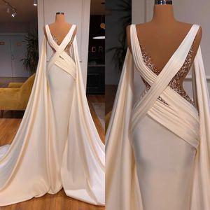 Arabic Mermaid Evening Dresses Deep V Neck Beaded Ruffles Satin Sequins African Prom Dress Custom Made Formal Party Wear