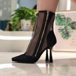 2020 spring and summer sandals mesh with leather high-heeled sandals high-end women's shoes increased black pointed