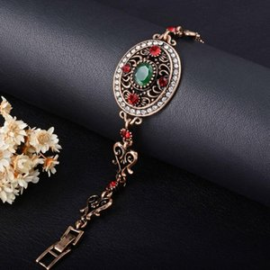 Boho Vintage Retro Turkish Jewelry Top Resin Gold Red Green Charm Bracelet Female Bracelets Bangles for Women Jewellery Braclet
