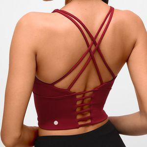 اليوغا الصدرية مثير عودة الرياضة الملابس الداخلية اليوغا الملابس المرأة الجديدة عارية الذراعين اللياقة البدنية الصدرية الصغيرة حبال البرازيلي سيدة قمم L-095