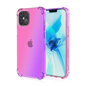 The new iphone12 four-corner anti-drop 12 mobile phone case iphone12pro max gradient color iridescent application smart watch