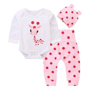Toddler Baby Boys Girls Cloth Cute Printed Clothes Set Long Sleeve Romper Top Polka Dot Pant Hat 3PCS Christmas Clothing1