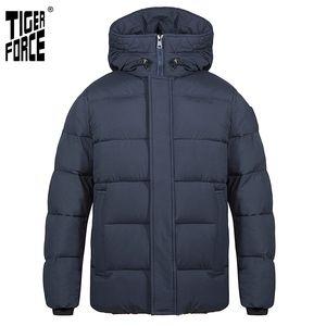 Tiger Force Men's Winter Inverno Meados da Moda Parka Men Down Jacket com Howoded Casual Engrossar Overcoat Quente 70750