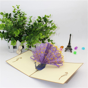 3D Cards Greeting Postcards Vintage Paper Popup Laser Cut Peacock Customize Invitations