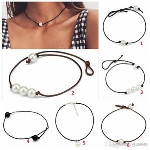 Women Fashion Chokers Pearl Necklace Jewelry Handmade Leather Rope Pearl Pendant Necklace Imitation Natural Freshwater Pearl Necklace 600PCS