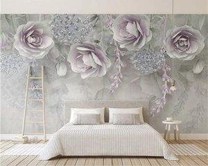 Custom wallpaper photo modern purple 3d embossed flower mural living room bedroombackground wall 3d wallpaper