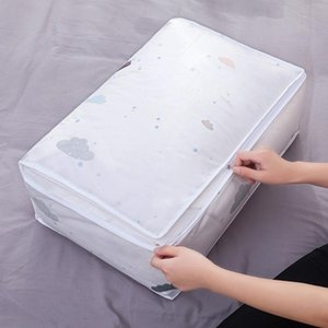 Foldable PEVA Storage Bag Clothes Sundries Quilt Pillow Blanket Organizer Large Zipper Case Moisture-proof Dustproof Storage Bag