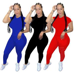 زائد حجم الصيف النساء عداء ببطء بدلة اثنان قطعة مجموعة ملابس سوداء قصيرة الأكمام تي شيرت + بنطلون عارضة إلكتروني sweatsuits الرياضية 2835