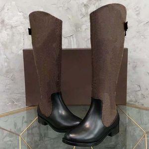 2021 Moda Renk Eşleştirme Yuvarlak Kafa Kadınlar Uzun Çizmeler Kadın Rahat Vahşi Kaymaz Deri Kadın Çizmeler Kovboy Shoe10 2502