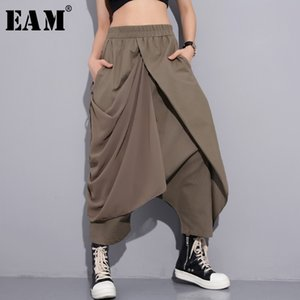 [EAM] New Spring High Elastic Waist Black Fold Bandage Stitch Loose Long Cross-pants Women Trousers Fashion JF897 201027