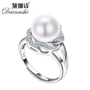 Grande desconto 925 jóias de prata esterlina na venda grandes anéis de pérola natural para mulheres anel de pedra ajustável branco / rosa / roxo pérola Z1207