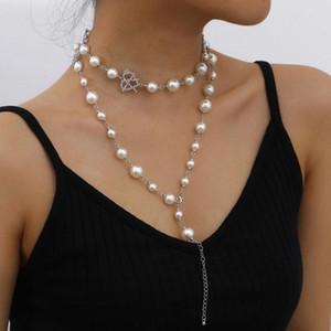Цепи многослойные жемчужные горный хрусталь сердца кулон ожерелье для женщин мода элегантный дикий длинный свитер цепь еврейский