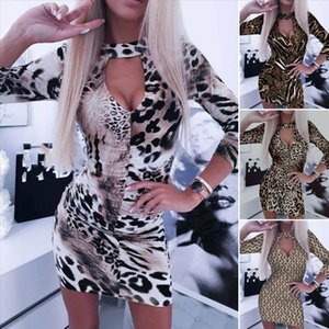 Sexy Womens Snake Print Leopard Print Long Sleeve Front hole Backless Bodycon Evening Party Short Mini Pencil Dress