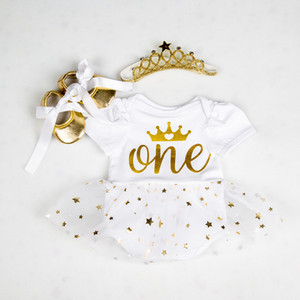 Infant First Birthday Outfits Baby Girl Clothes Sets Newborn Toddler Girl Christening Party Wear Little Girl One Year Clothing F1205
