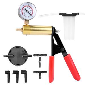 19pcs 2 in 1 Professional Car Vacuum Pump Brake Bleeder Set Portable Mini Precise Pressure Gauge with 4 Tubes for Car