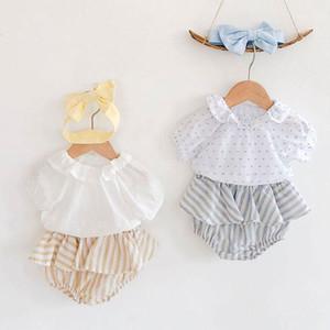 아기 복장 옷 신생아 아기 연꽃 잎 칼라 탑 옷과 줄무늬 바지 스커트 + 헤어 밴드 유아 여자 의류 1