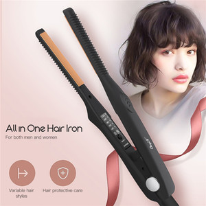 2 In 1 Electirc Hair Iron Ceramic Hair Straightener Temperature Adjustment Flat Iron Straightening Curler Men Hair Styling TooL