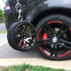 Hot Rim Turbo Ring with Brake Discs Tire Wheel Keychain Auto Car Key Chain Keyring for Bmw Audi