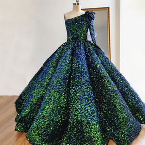 Sparkly Ball Gown Evening Dresses 2021 Sexy One Shoulder Long Sleeve African Sequined Prom Formal Party Gowns Real Photos