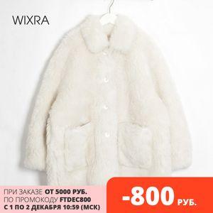 Wixra Women Sheepskin Wool Coat Ladies Winter Single Breasted Genuine Fur Outwear Jacket Oversize Warm Luxury Overcoat J1203