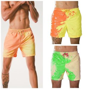 Fashion Men Beach Shorts Color Changing Swimwear Quick Dry Trunks Discoloration Beach Pants Male Summer Swimming Running Shorts 5 Colors