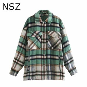 NSZ women oversized woolen coat fall fashion wool blend checked shirt jacket long sleeve loose ladies outerwear overshirt