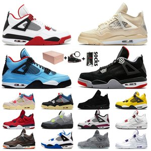 retro 4 Travis Scott Retro 4 Off White 4s 2020 Nova Jumpman com União Box Goiaba Ice Mulheres Mens Basketball sapatos de Branco Sneakers