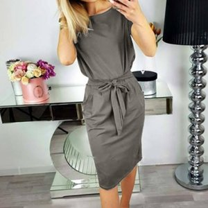 dress women Womens Lace up Casual Pocket Summer Ladies Short Sleeve Evening Party Mini Dress vestido de mujer ropa mujer