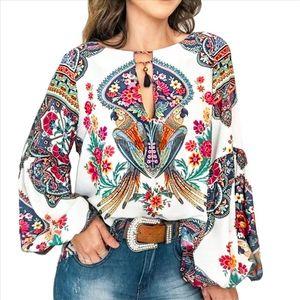 2020 Casual Vintage Shirt Blouse Women Printed Lantern Sleeve Plus Size Womens Tops Loose V Neck Blusas Mujer De Moda