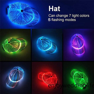 New Led Luminous Hat Fashion Trend Colorful Bling Bling Glow Fiber Optic Drawstring Cap Baseball Cap Performance Hat For Party New Year