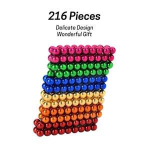 216 stücke 5mm Magnetkugel Baustein Kreative Magnet Spielzeug Puzzle-Bälle - bunt
