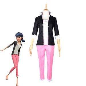 Marinette Cosplay Kostüm kadın Rahat Üniformalar Cadılar Bayramı Karnaval Kıyafetler Custom Made Üst + Pantolon + Ceket T200502
