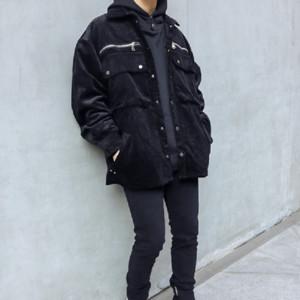 Original Bolsos Zipper Corduroy Coat Mens Lapela Oversize Oversize Macacões High Street Solto Windbreaker Bomber Jacket