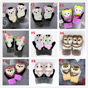 Women Men Winter Knitted Gloves Cute 3D Fluffy Cartoon Animal Thermal Mittens Cartoon plush knitting Gloves