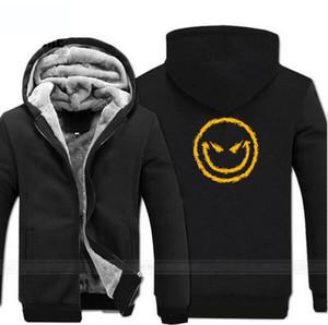Sourire du mal Face Sweats à Sweats à capuche Mens Hiver Fleece Plus Taille Taille Sweatshirts Hommes Épaissir Casual Capuche Marque Manteau pour homme