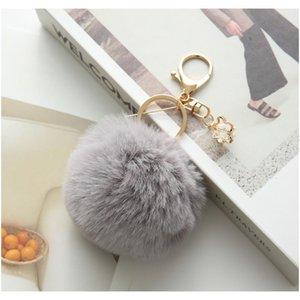 Moda Pom Ball Ball Ornament Ball Corrach com flor F Rabbit POM para titular chave carro pingente de pele chave chaveiro sqcsbo mulheres saco onmox