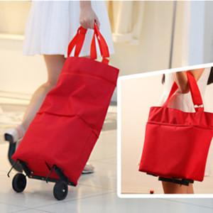 Oxford Folding Shopping Bag Panier Roues Sac Small Pull Panier Acheter légumes femmes Sac shopping Organisateur Paquet Remorqueur C1116