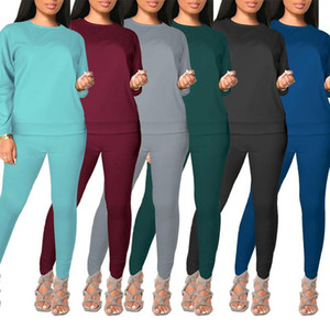 Womens long sleeve outfits 2 piece set tracksuit shirt legging jogging sportsuit sportswear sweatshirt tights hot klw5701
