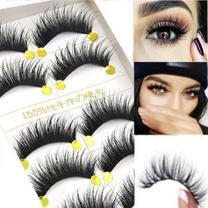 5Pairs Set Faux Mink Hair False Eyelashes Wispy Criss-cross Fluffy Thick Natural Handmade Lash Cruelty-free Eye Makeup Tools