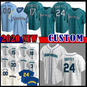 Seattle Custom Ken Griffey Jr. Ichiro Suzuki Jersey Dan Vogelbach Yusei Kikuchi Robinson Cano Jay Buhner Ryon Healy Kyle Seager