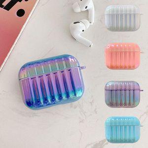 Luxury Design Earphone Case for AirPods 1 2 3 pro 3D Laser Stapes Hard PC Gradient Glitter Wireless Earphone Shell Case