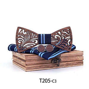 Wooden Bow Tie Set And Handkerchief Bowtie Necktie Cravate Homme Noeud Papillon Corbatas Hombre Pajarita Gift For Men Chirstmas Q sqcPlH
