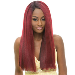 Hot Sale Red Lace Front Synthetic Hair Wigs For Women Straight Lace Front Wig Deep Part Peruvian Remy Human Hair Wigs