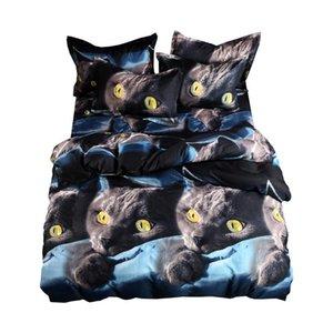 SUGAN Adult Duvet Cover Set 3D Printed Animal Cat Comforter 4pcs Bedding Sets King Size Single Full Double Bed Linen Flat Sheet