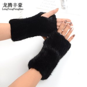 Mink Fingerless Real 20CM Warmer & Winter female Fur Gloves Women Mittens 201021