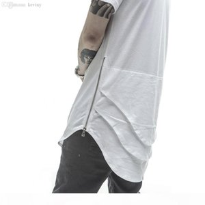 Wholesale-Justin Bieber Extended T shirt Mens Fishtail Multi Fold Curved Hem Side Zipper Short Sleeve Longline T shirts Hip Hop