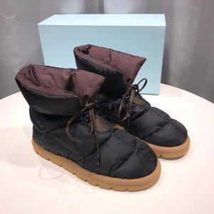 Nuove donne cuscino piatta scarpe scarpe designer piattaforma stivaletti di alta qualità stampa invernale falces eiderdown lace-up stivale da neve con scatola 265