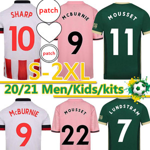2020 2021 Mousset Sheffield Soccer Jerseys McBurnie Utd Sharp Lundstram Fleck McGoldrick Hommes Kits Kids Uniformes Chemise de football Thai S-2XL